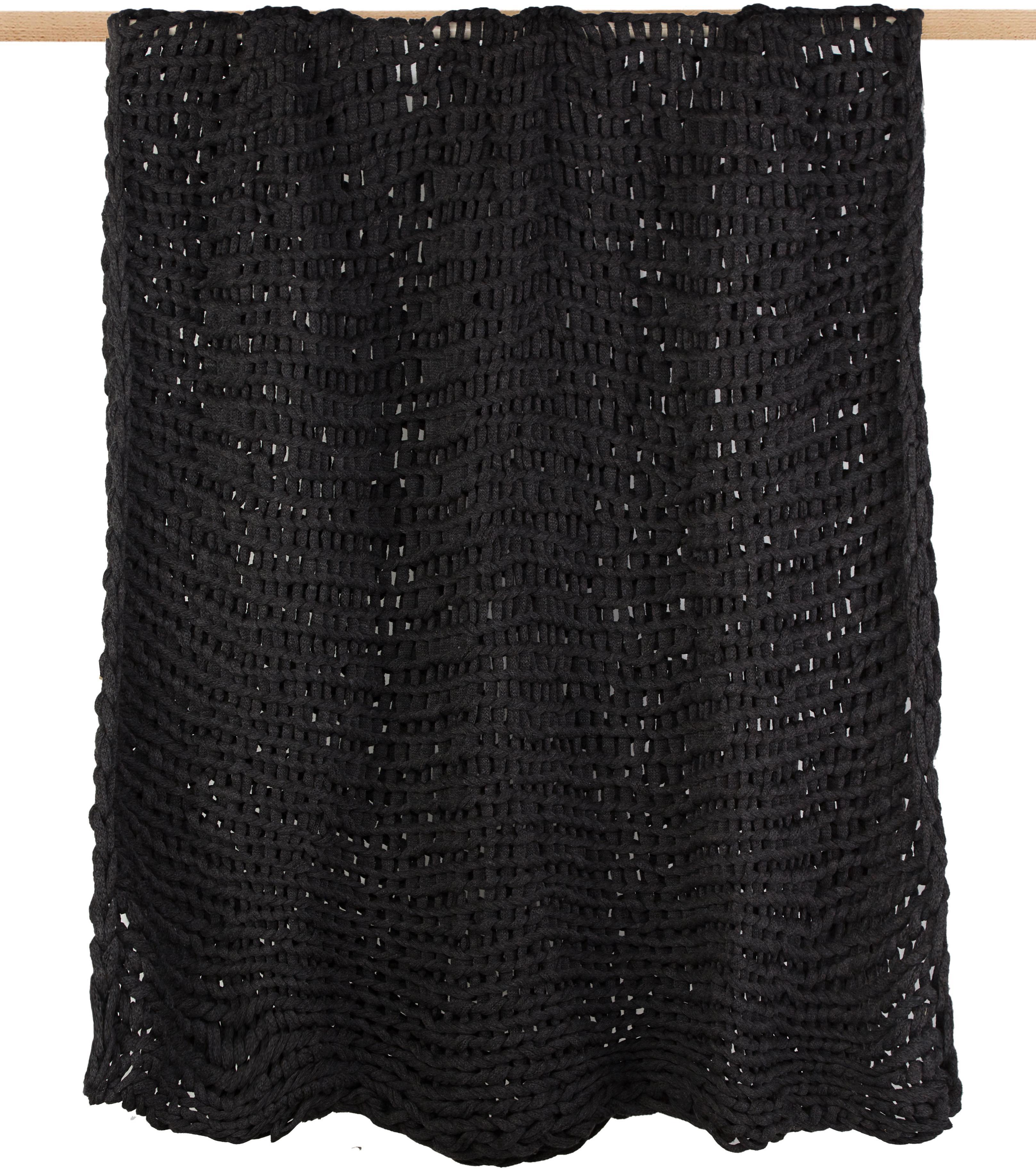 Plaid a maglia Adyna, 100% acrilico, Grigio scuro, 150 x 200 cm