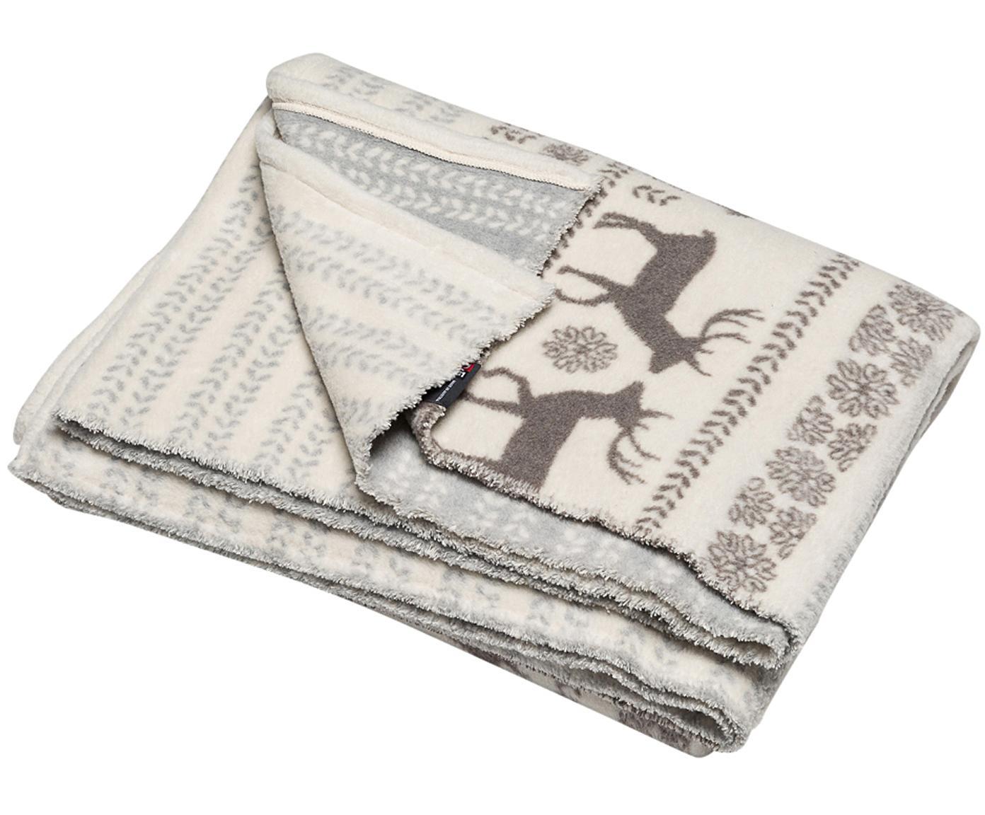 Plaid Hirsch mit winterlichen Motiven, Bezug: 85% Baumwolle, 8% Viskose, Beige, Grau, Hellblau, 150 x 200 cm