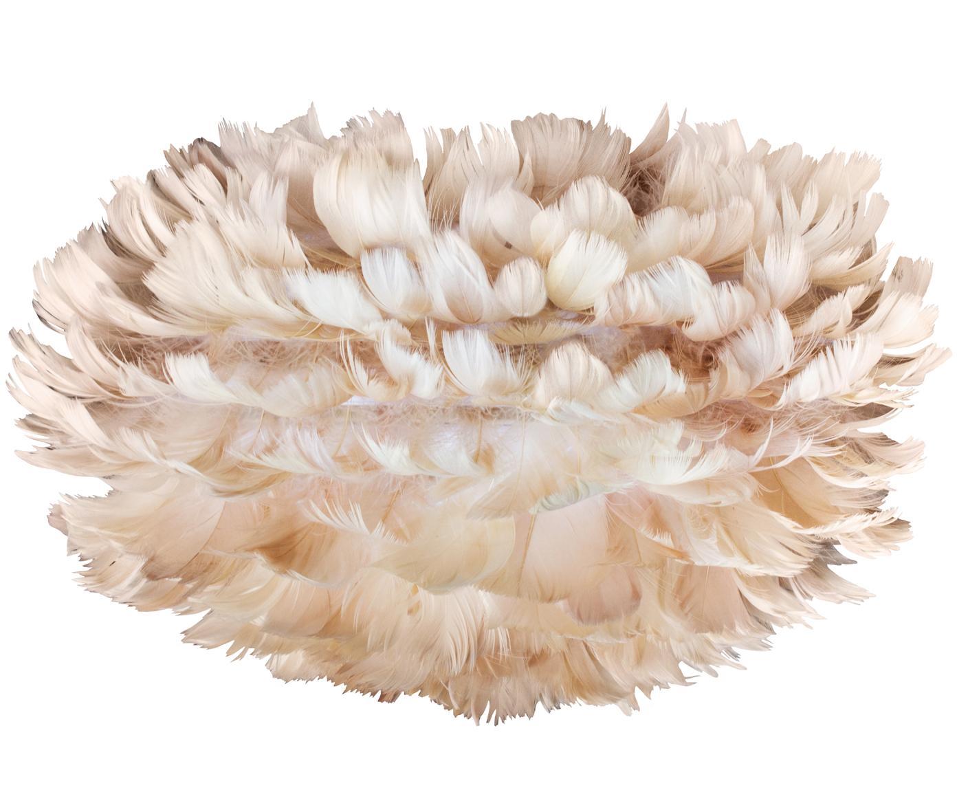 Lampenkap Eos van veren, Ganzenveren, staal, Lichtbruin, Ø 35 x H 20 cm