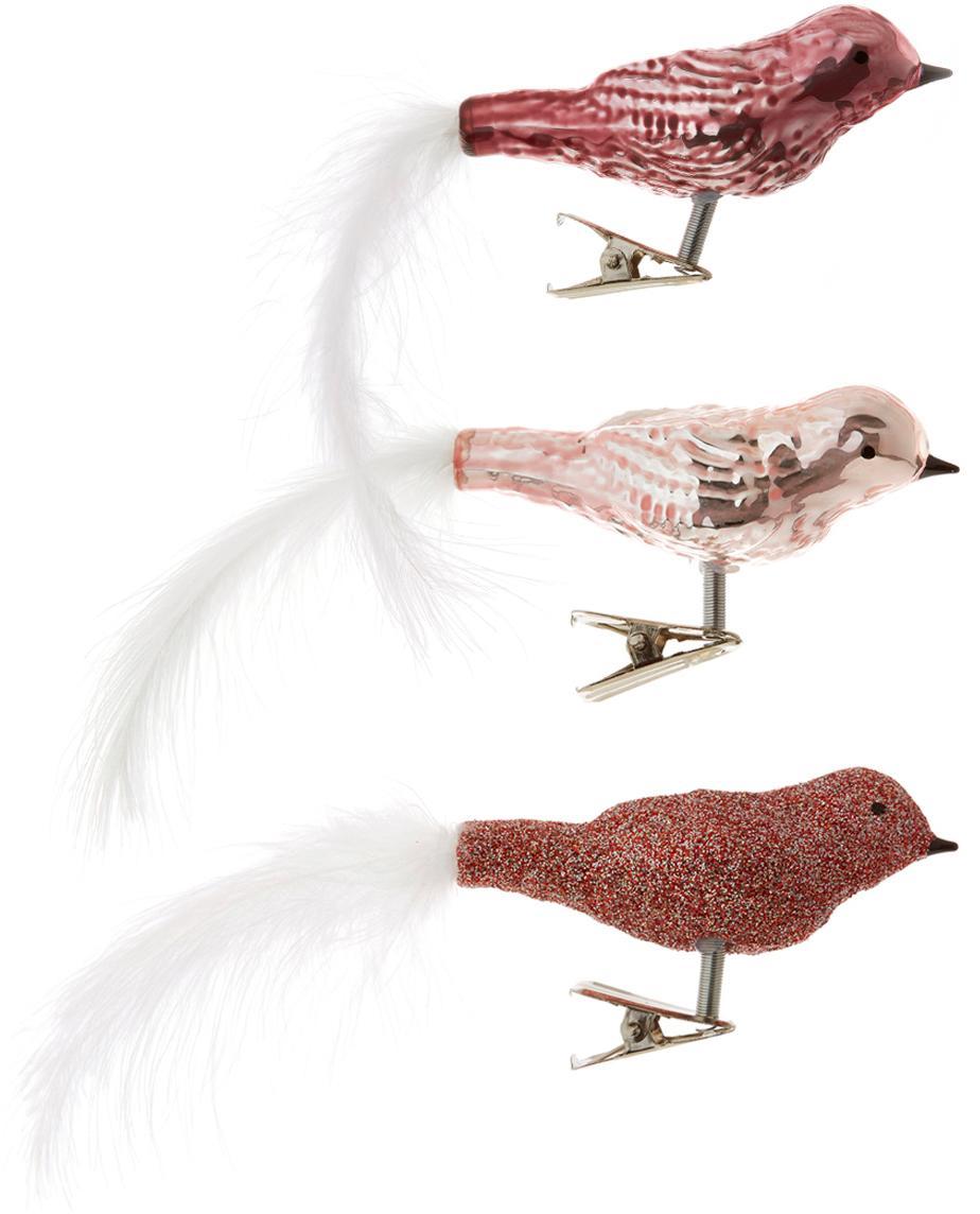 Set de adornos navideños Triky Traka, 3pzas., Vidrio, Rosa, An 4 x Al 8 cm