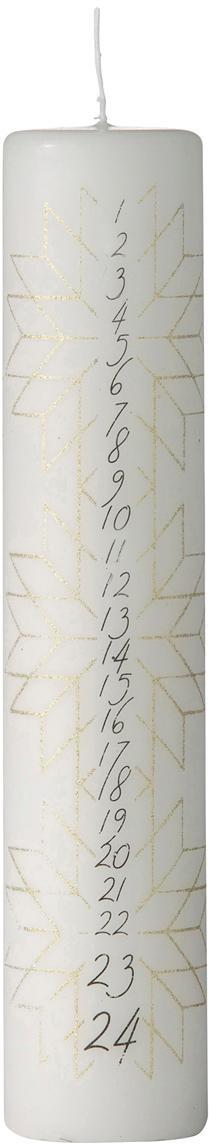 Adventskalenderkaars Nordic Calendar, Paraffinewas, Wit, goudkleurig, zwart, Ø 5 x H 25 cm
