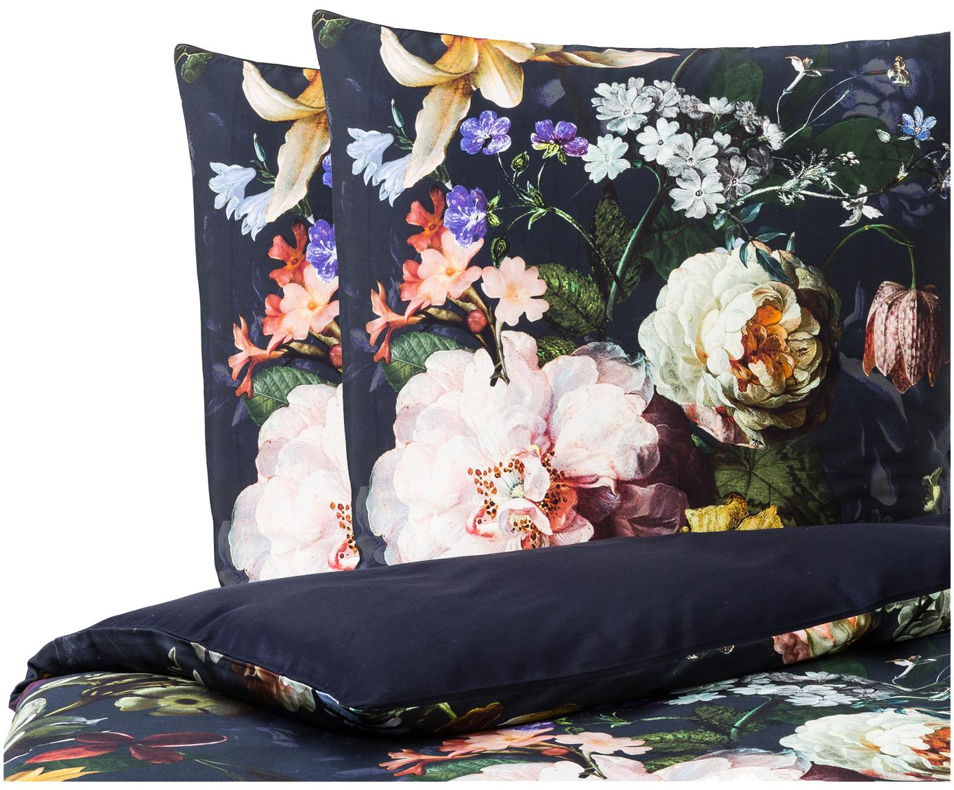 Katoenen dekbedovertrek Fleur, Donkerblauw, 240 x 220 cm