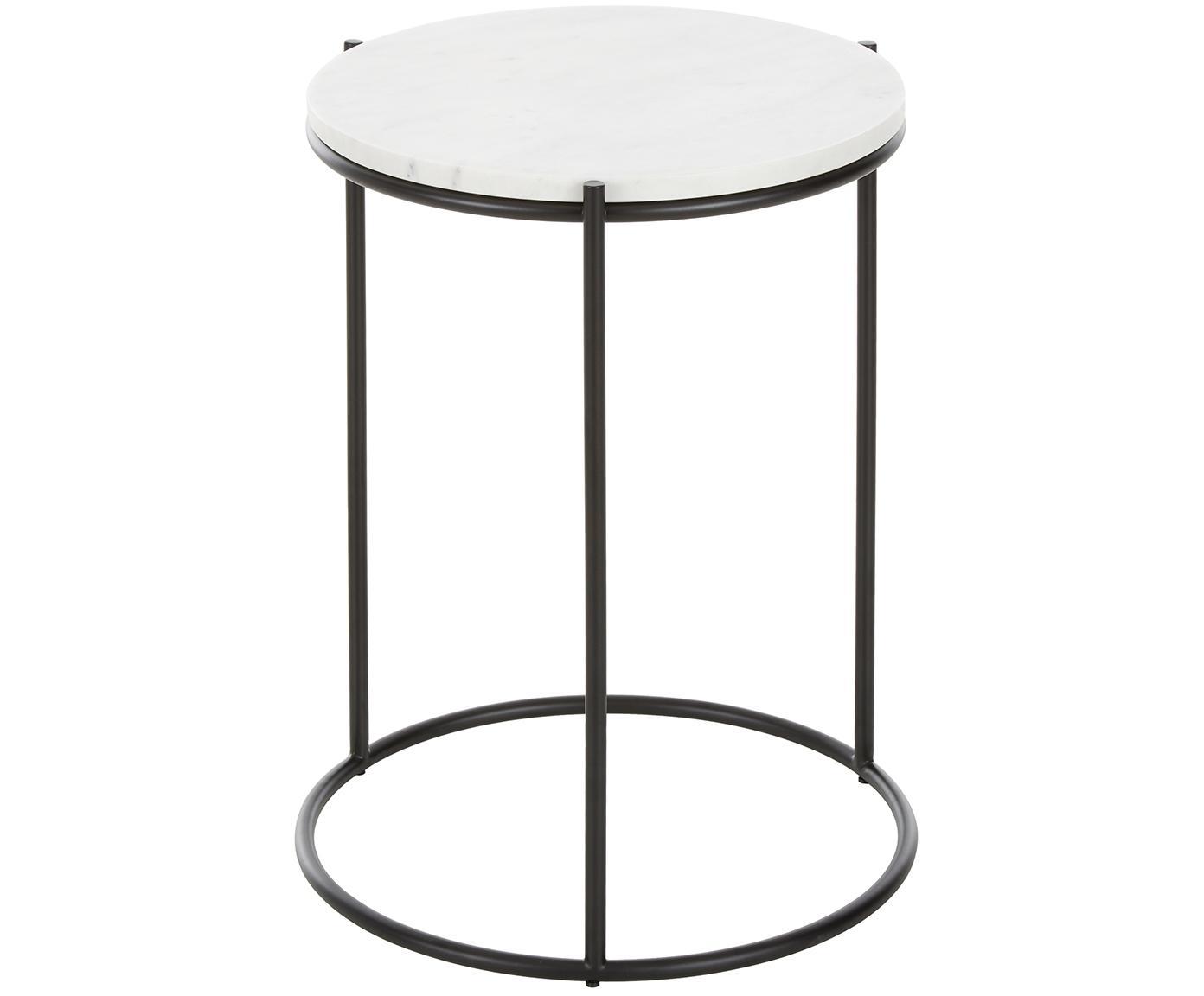 Mesa auxiliar redonda de mármol Ella, Tablero: mármol natural, Estructura: metal, pintura en polvo, Blanco veteado, negro, Ø 40 x Al 50 cm