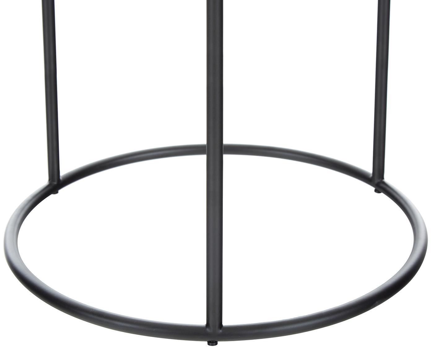 Okrągły stolik pomocniczy z marmuru Ella, Blat: marmur naturalny, Stelaż: metal malowany proszkowo, Blat: jaśniejszy marmur Stelaż: czarny, matowy, Ø 40 x W 50 cm