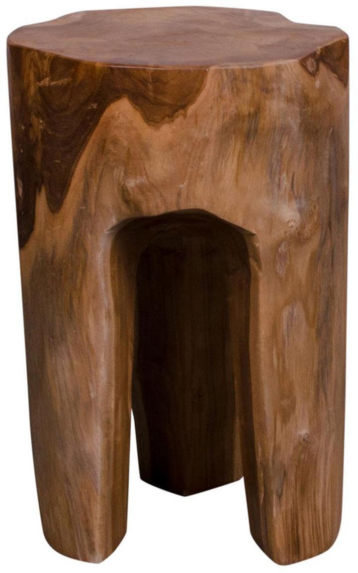 Taburete de madera maciza Rose, Madera de teca, Marrón, Ø 26 x Al 40 cm