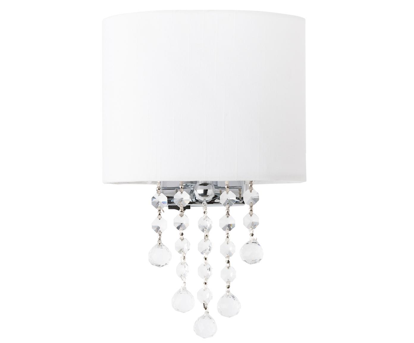 Wandlamp Nora, Metaal, textiel, kristallen, Wit, 18 x 27 cm