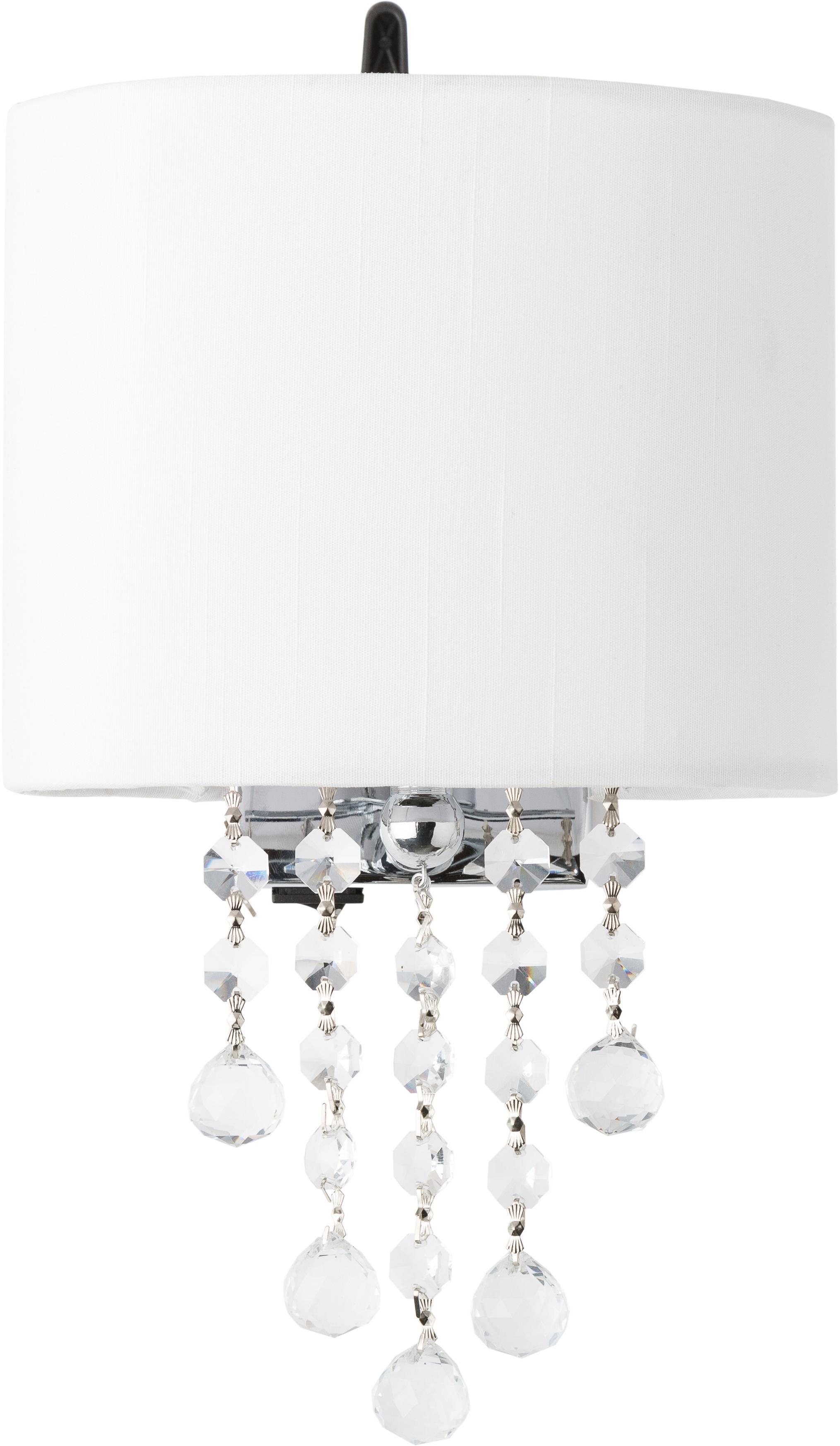 Aplique Nora, Metal, tela, cristal, Blanco, An 18 x Al 27 cm