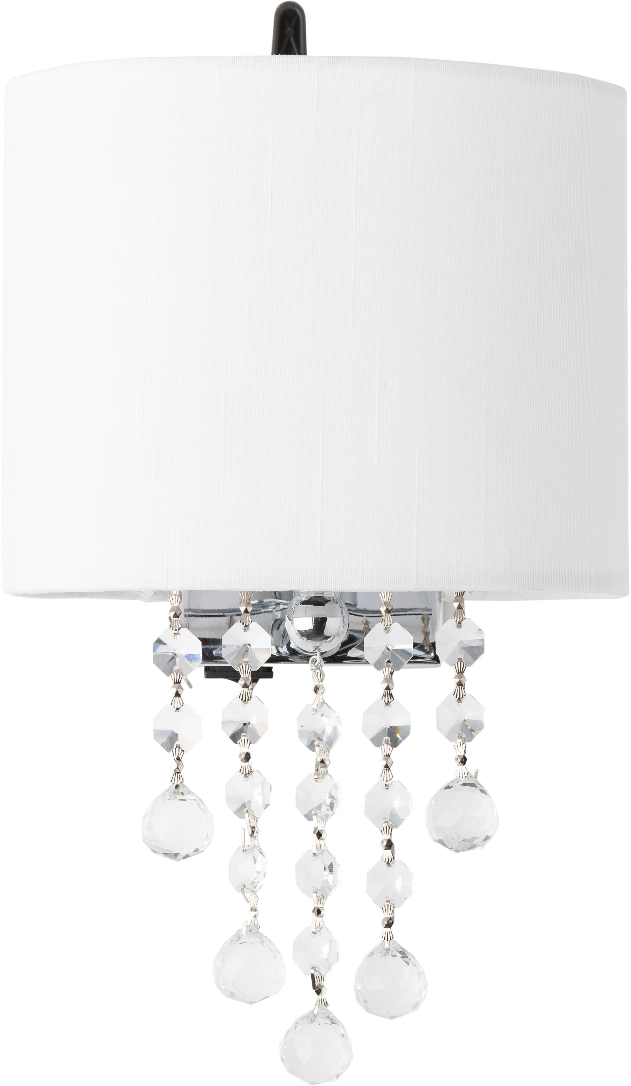 Applique Nora, Metallo, tessuto, cristallo, Bianco, Larg. 18 x Alt. 27 cm