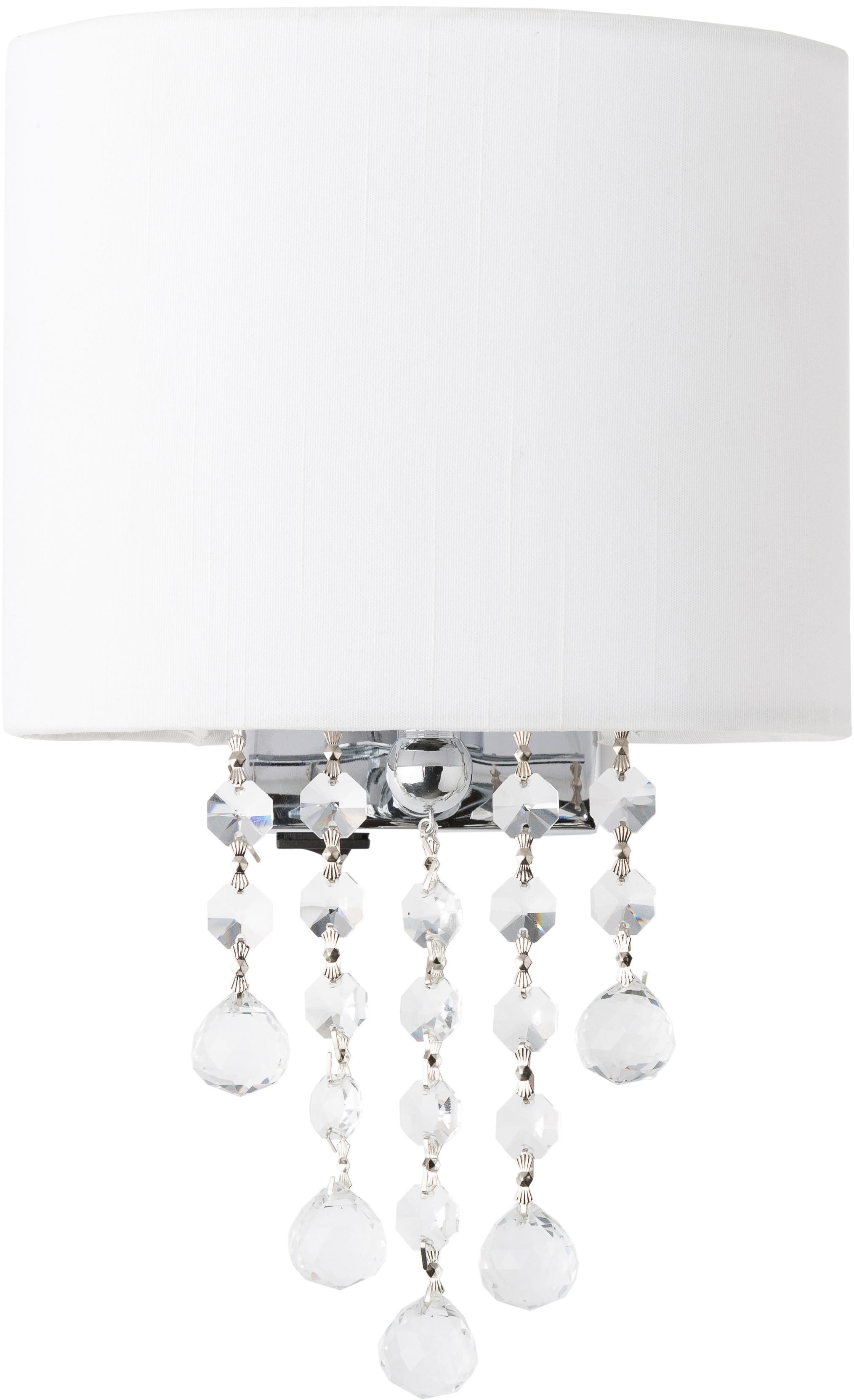 Kinkiet Nora, Metal, tkanina, kryształ, Biały, S 18 x W 27 cm