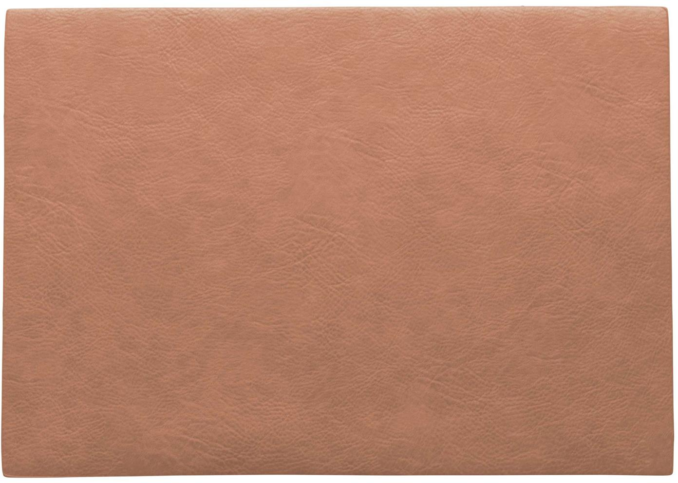 Kunstleder -Tischsets Plini, 2 Stück, Veganes Leder (Polyurethan), Korallrosa, 33 x 46 cm