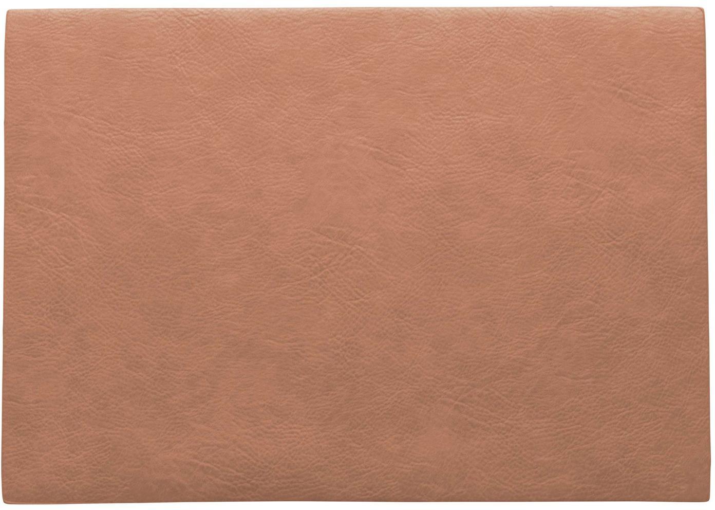 Tovaglietta americana in similpelle Plini 2 pz, Pelle vegana (poliuretano), Rosa corallo, Larg. 33 x Lung. 46 cm