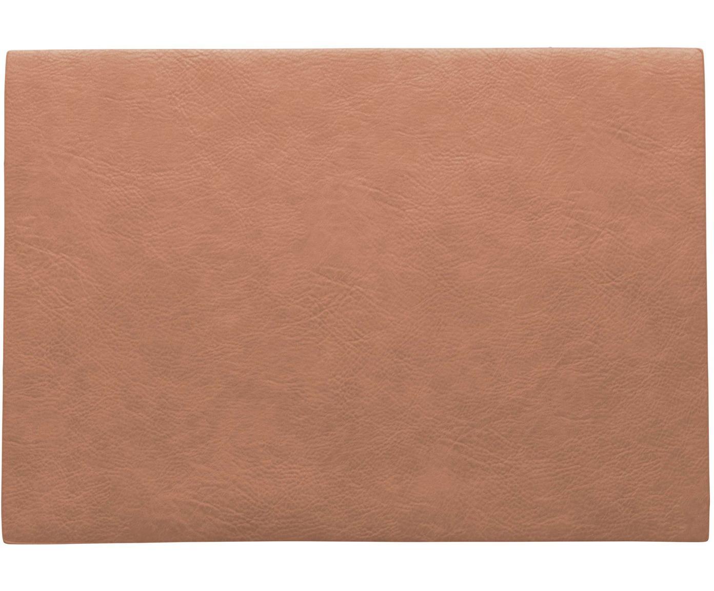 Placemats Plini van kunstleer, 2 stuks, Veganistisch leer, polyurethaan, Koraalrood, 33 x 46 cm