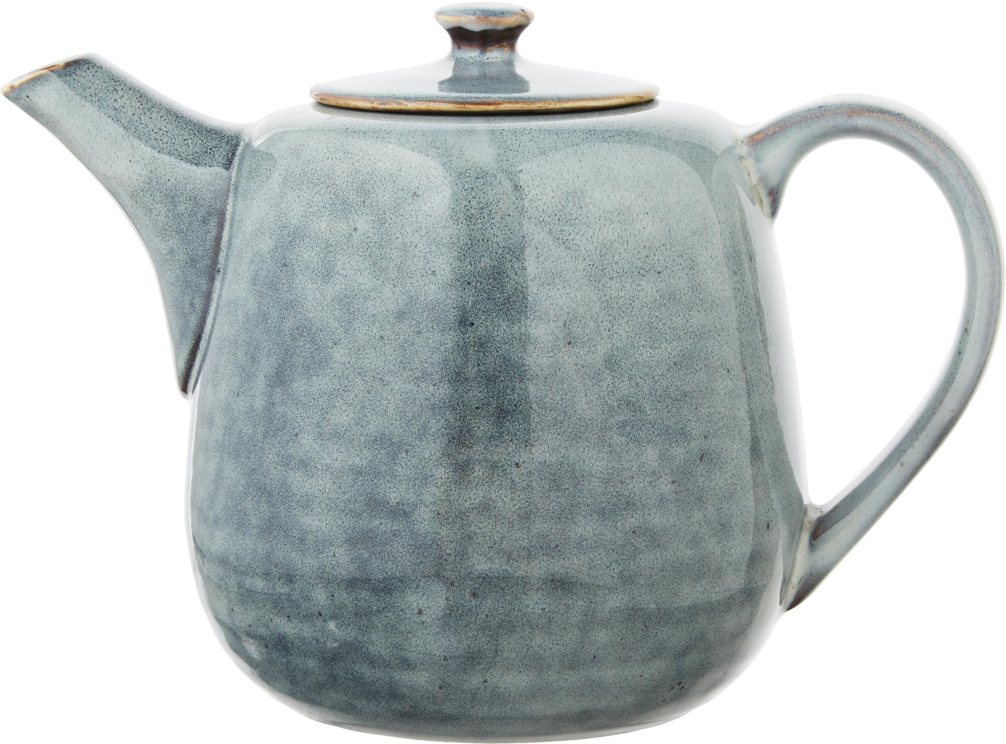 Ręcznie wykonany czajnik z kamionki Nordic Sea, Kamionka, Odcienie szarego i niebieskiego, 1 l