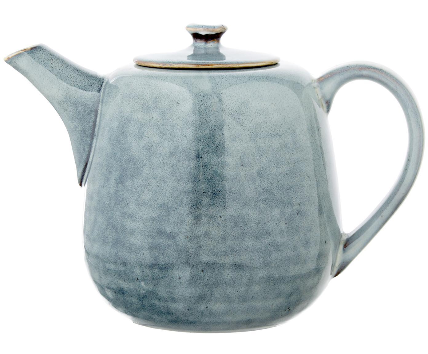 Handgemachte Teekanne Nordic Sea aus Steingut, Steingut, Grau- und Blautöne, 1.3 L