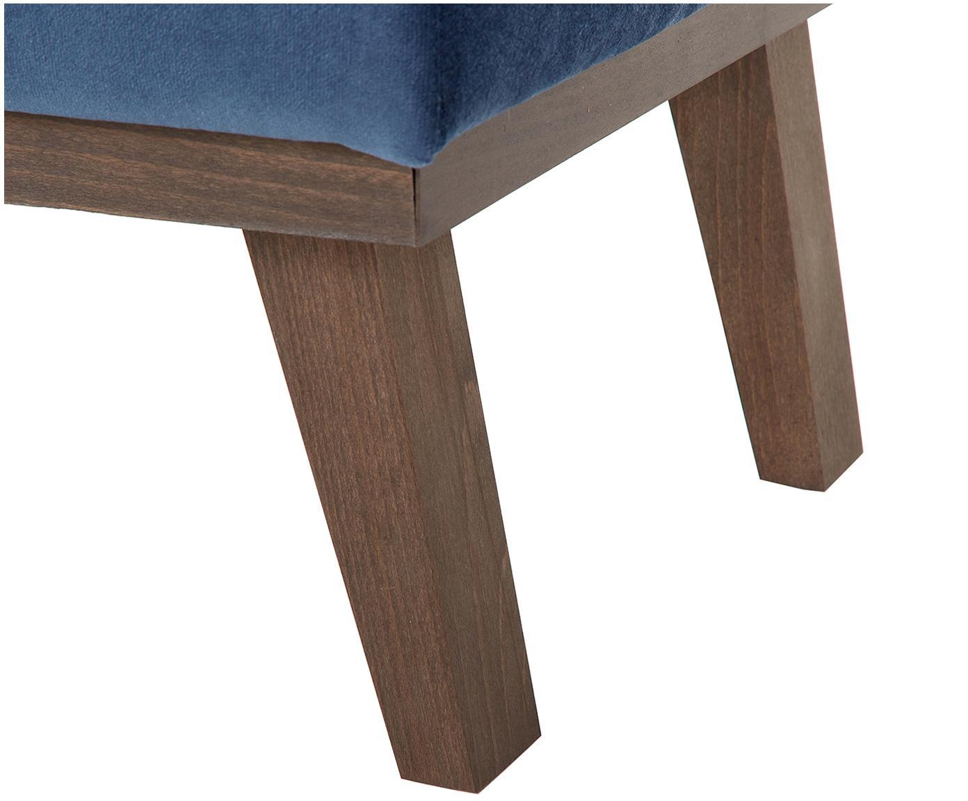 Sofa-Hocker Alva aus Samt, Bezug: Samt (Hochwertiger Polyes, Gestell: Massives Kiefernholz, Füße: Massives Buchenholz, gebe, Dunkelblau, 74 x 30 cm