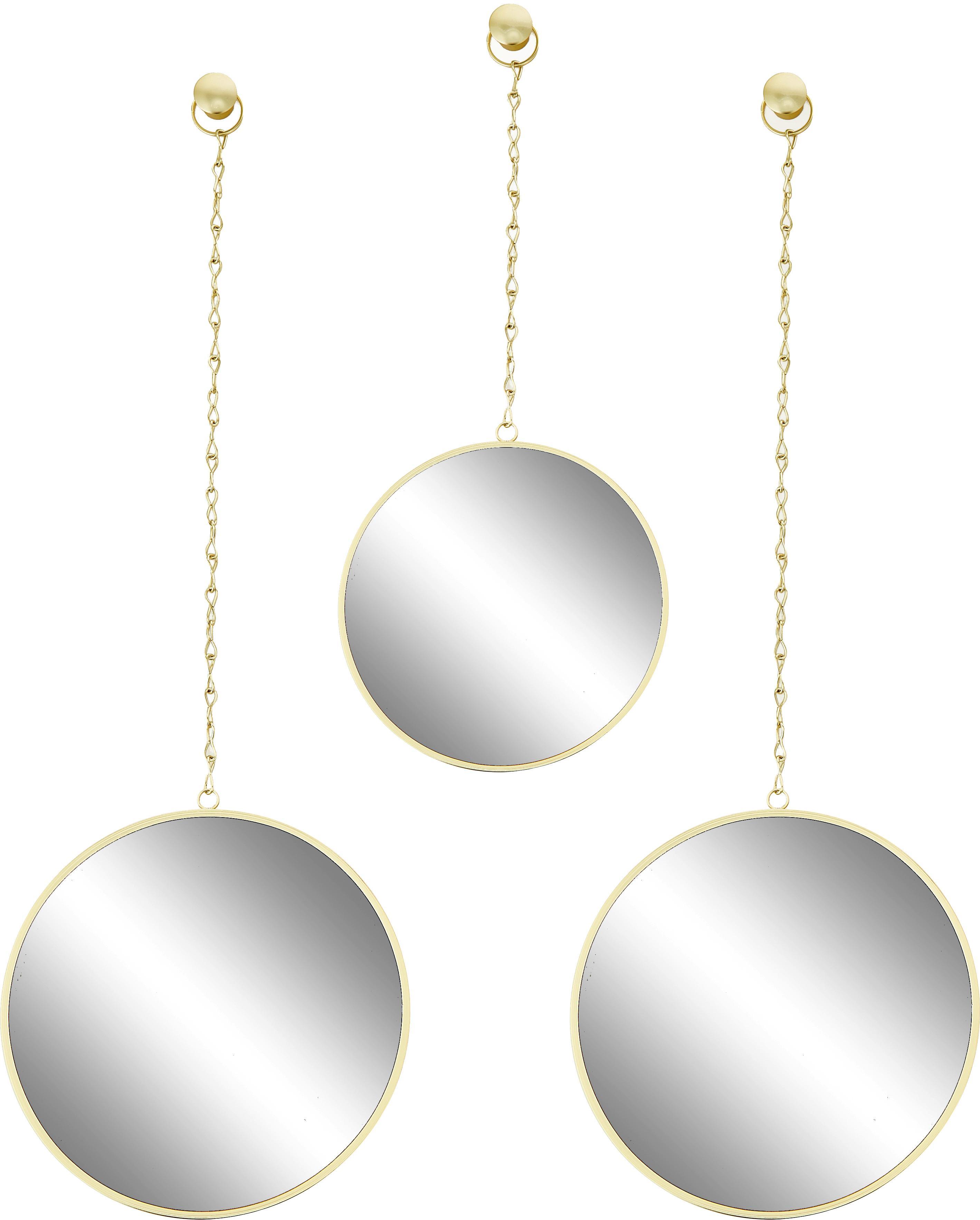 Set 3 specchi da parete Dima, Cornice: metallo rivestito, Superficie dello specchio: lastra di vetro, Dorato, Set in varie misure