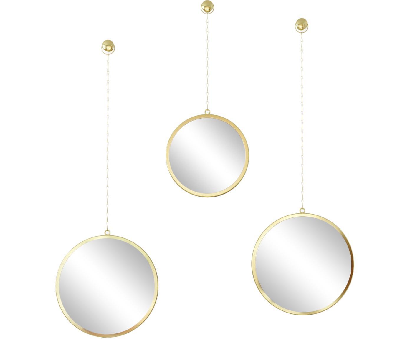 Set 3 specchi da parete Dima, Cornice: metallo rivestito, Superficie dello specchio: lastra di vetro, Dorato, Diverse dimensioni
