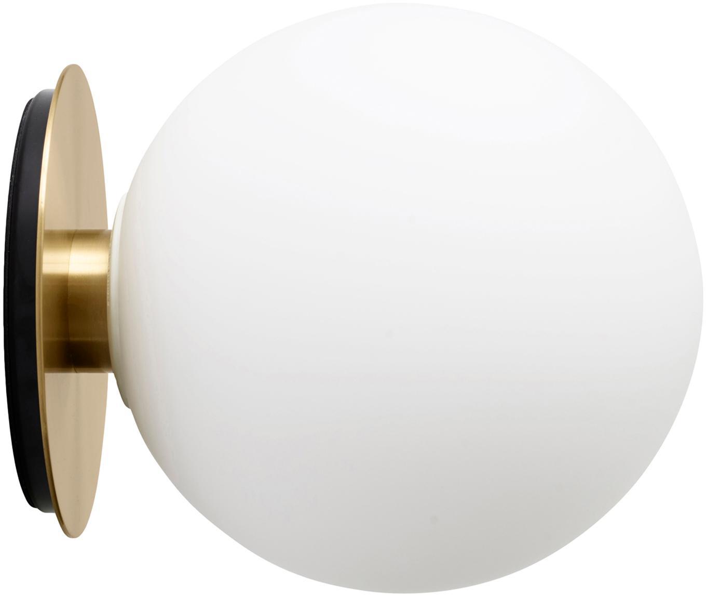 LED wand- en plafondlamp TR Bulb, Lampenkap: opaalglas, Lampvoet: geborsteld messing, Messingkleurig, Ø 20 x D 22 cm