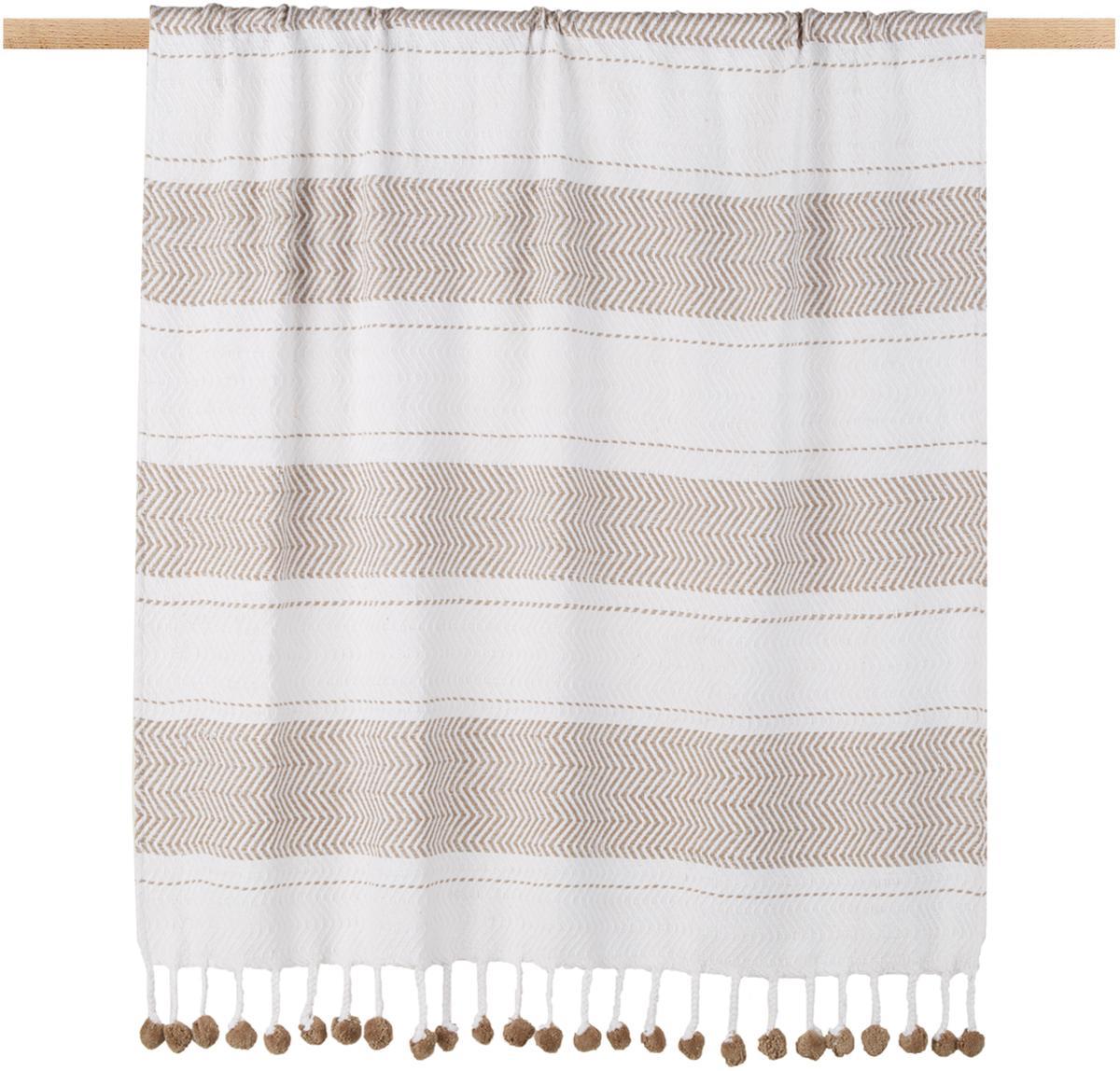 Manta Pom Pom, Algodón, Blanco crudo, gris pardo, An 130 x L 170 cm
