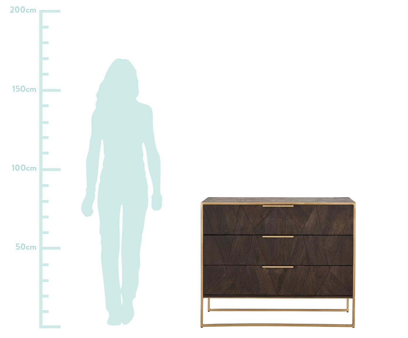 Schubladenkommode Harry aus Massivholz, Korpus: Massives Mangoholz, lacki, Mangoholz, 100 x 80 cm