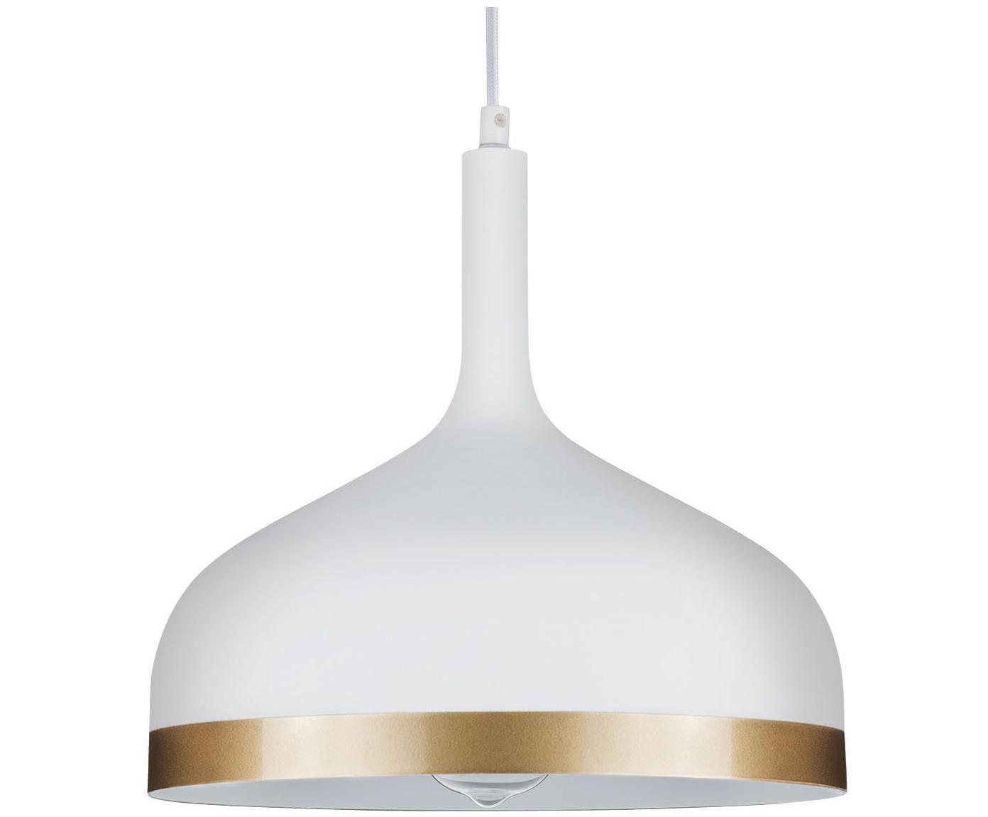 Hanglamp Embla, Wit, goudkleurig, Ø 30 x H 28 cm