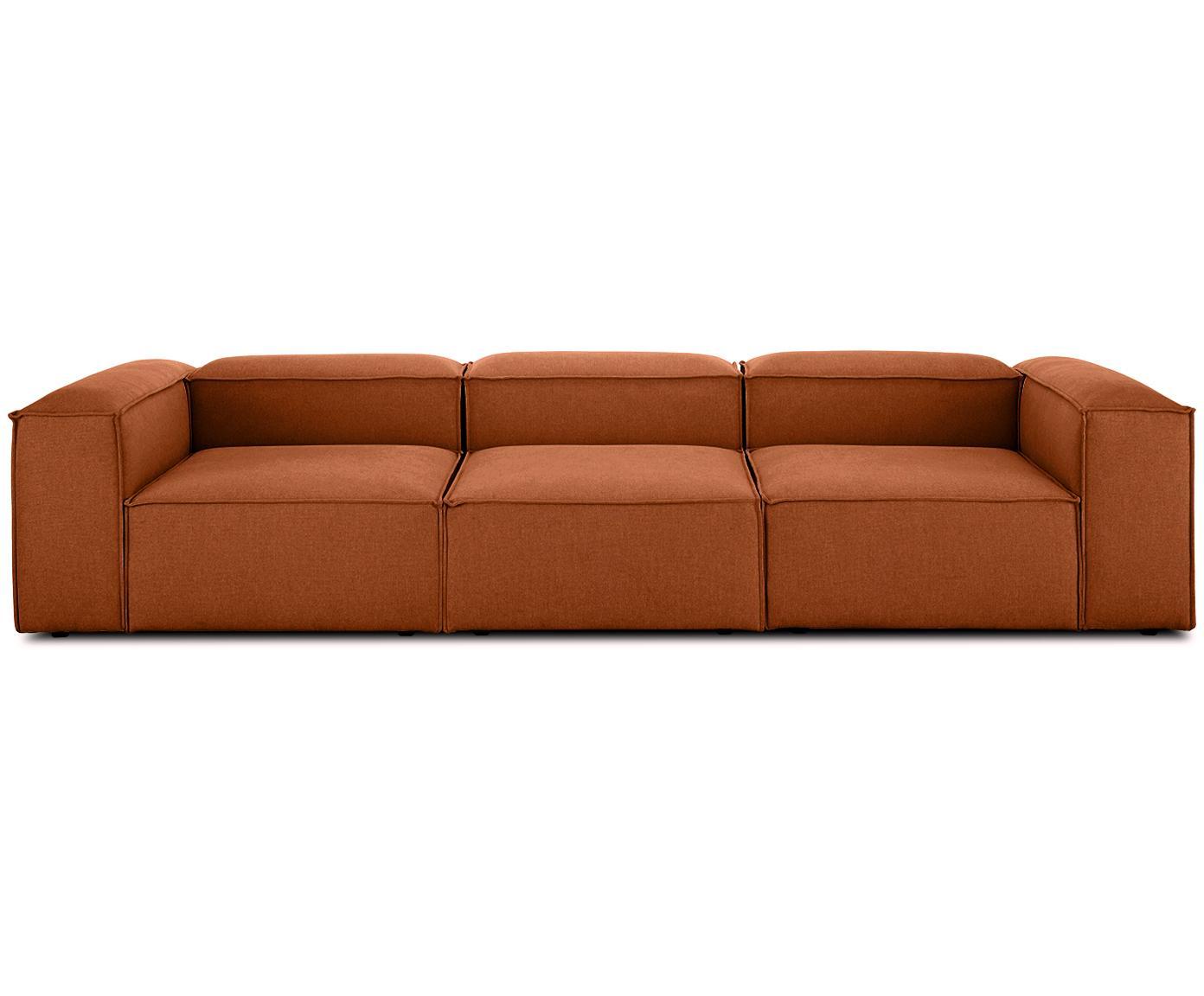 Modulares Sofa Lennon (4-Sitzer), Bezug: Polyester 35.000 Scheuert, Gestell: Massives Kiefernholz, Spe, Webstoff Terrakotta, B 326 x T 119 cm