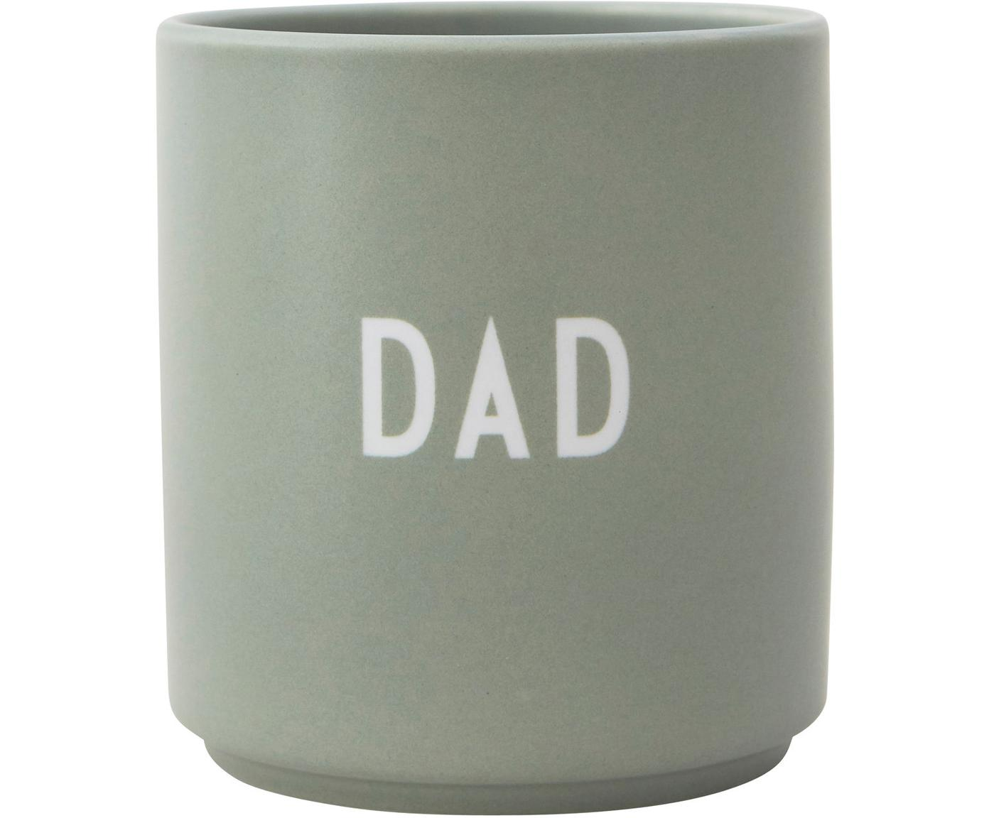 Design Becher Favourite DAD in Mint mit Schriftzug, Fine Bone China (Porzellan), Grün, Weiss, Ø 8 x H 9 cm