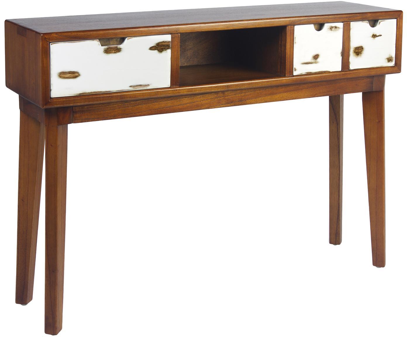 Consola artesanal de madera maciza Nordic, Marrón, An 110 x Al 80 cm