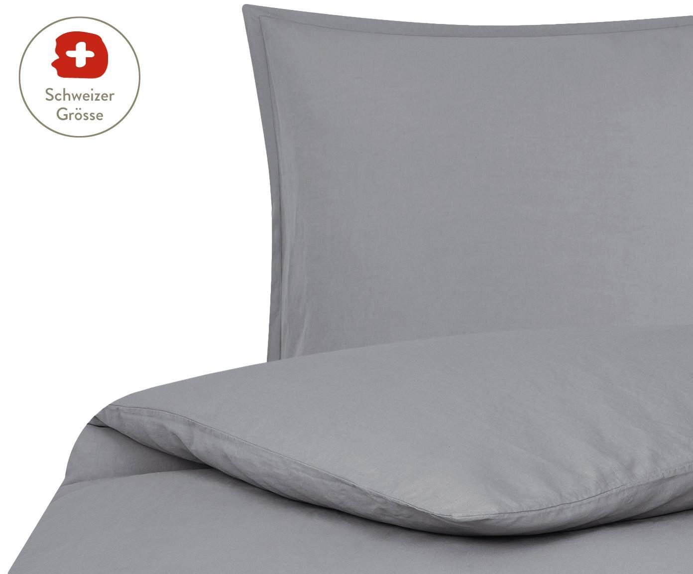 Gewaschener Leinen-Bettdeckenbezug Nature in Dunkelgrau, 52% Leinen, 48% Baumwolle Mit Stonewash-Effekt für einen weichen Griff, Dunkelgrau, 160 x 210 cm