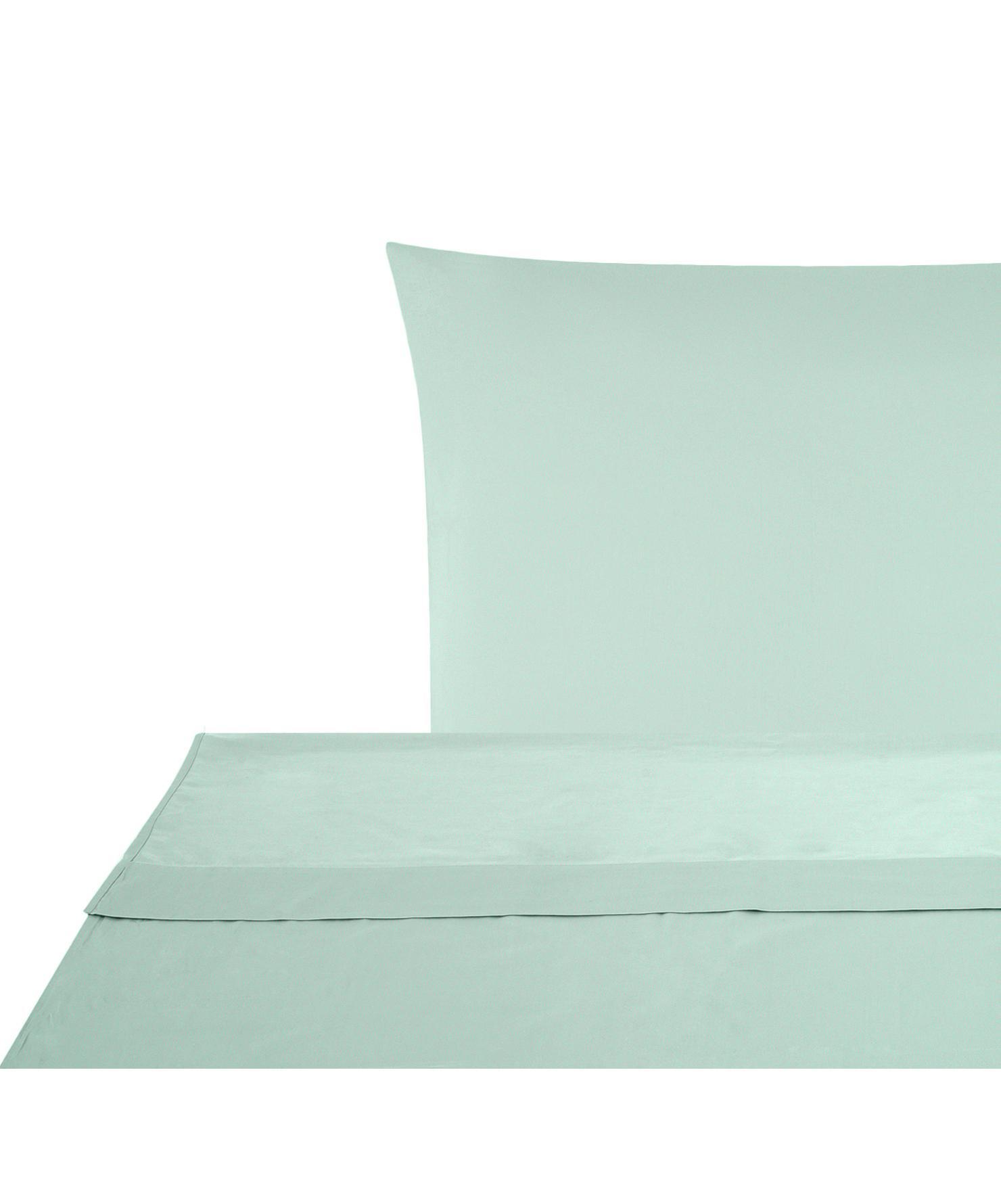 Set lenzuola in raso di cotone Comfort 2 pz, Tessuto: raso Densità del filo 250, Verde salvia, 150 x 300 cm