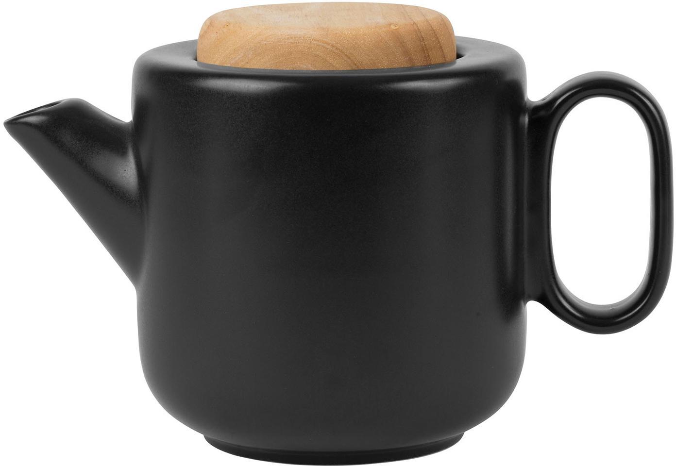 Teekanne Baltika mit Teesieb und Deckel, Steingut, Bambus, Rostfreier Stahl, Schwarz, 1 L