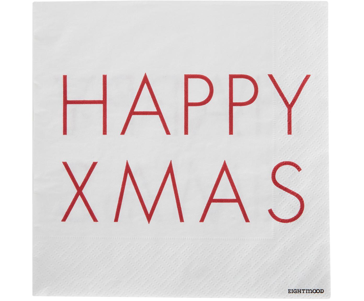 Servilletas de papel Happy Xmas, 20uds., Papel, Blanco, rojo, An 33 x L 33 cm