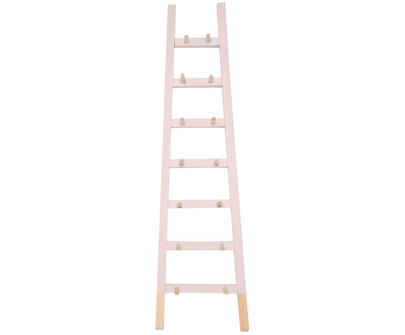 Ladderrek Helia, Gecoat grenenhout, Roze, grenenhoutkleurig, 46 x 170 cm