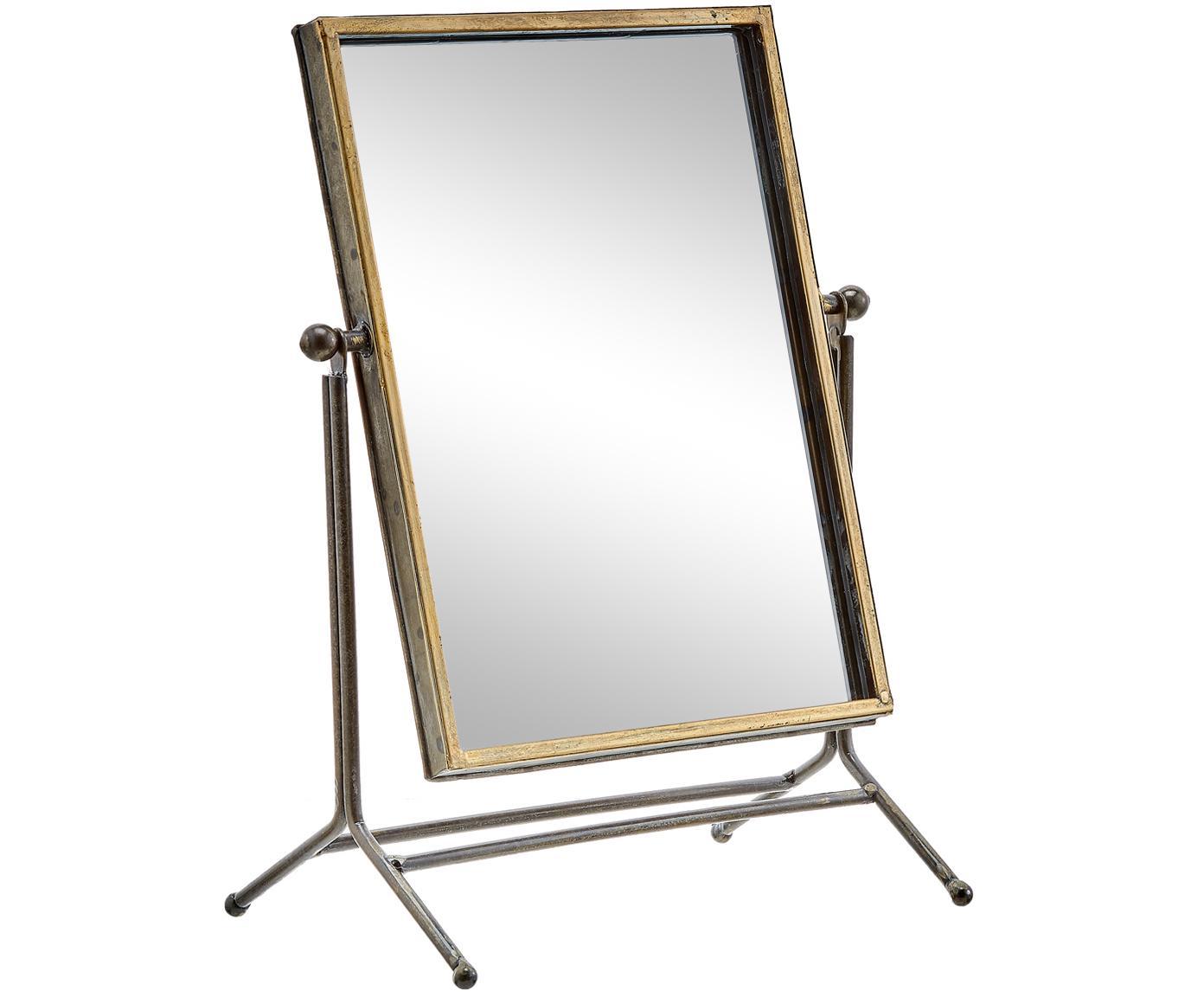 Make-up spiegel Antique, Lijst: gecoat metaal, Messingkleurig, 33 x 44 cm