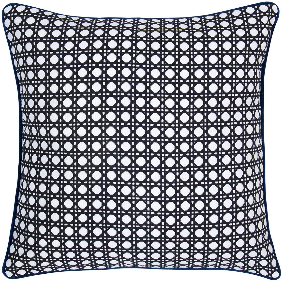 Poszewka na poduszkę z lamówką Eva, Bawełna, Czarny, biały Wykończenie brzegów: ciemny niebieski, S 40 x D 40 cm