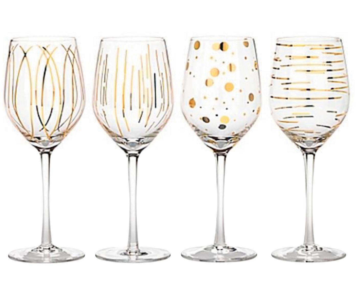 Witte wijnglazen Mikasa Cheers met goudkleurige decoratie, 4-delig, Glas, Transparant, goudkleurig, Ø 9 x H 25 cm