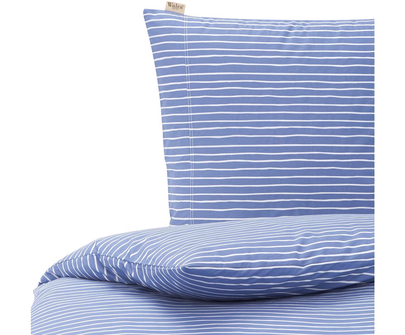 Baumwoll-Bettwäsche No way out mit Linien, Webart: Renforcé Renforcé besteht, Blau, Weiß, 135 x 200 cm + 1 Kissen 80 x 80 cm