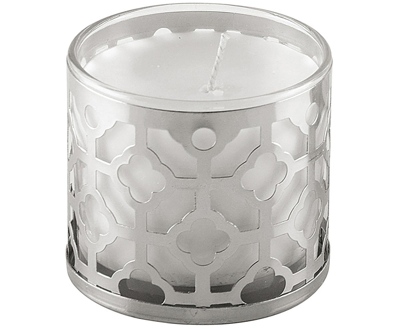 Duftkerze Helion (Vanille), Behälter: Glas, Metall, Silberfarben, Weiss, Ø 8 x H 8 cm