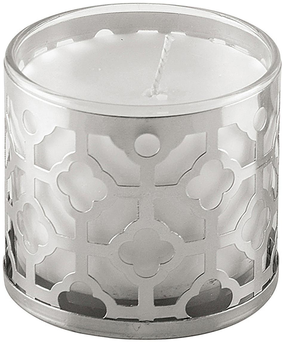 Duftkerze Helion (Vanille), Behälter: Glas, Metall, Silberfarben, Weiß, Ø 8 x H 8 cm