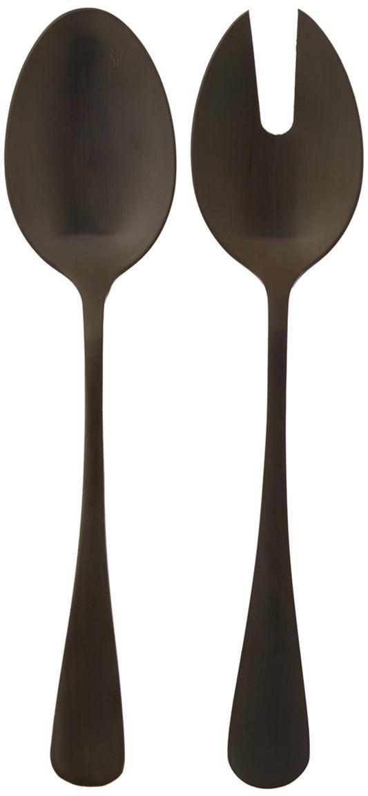 Schwarzes Salatbesteck Modern aus Edelstahl, 2er-Set, Edelstahl, beschichtet, Schwarz, L 25 cm