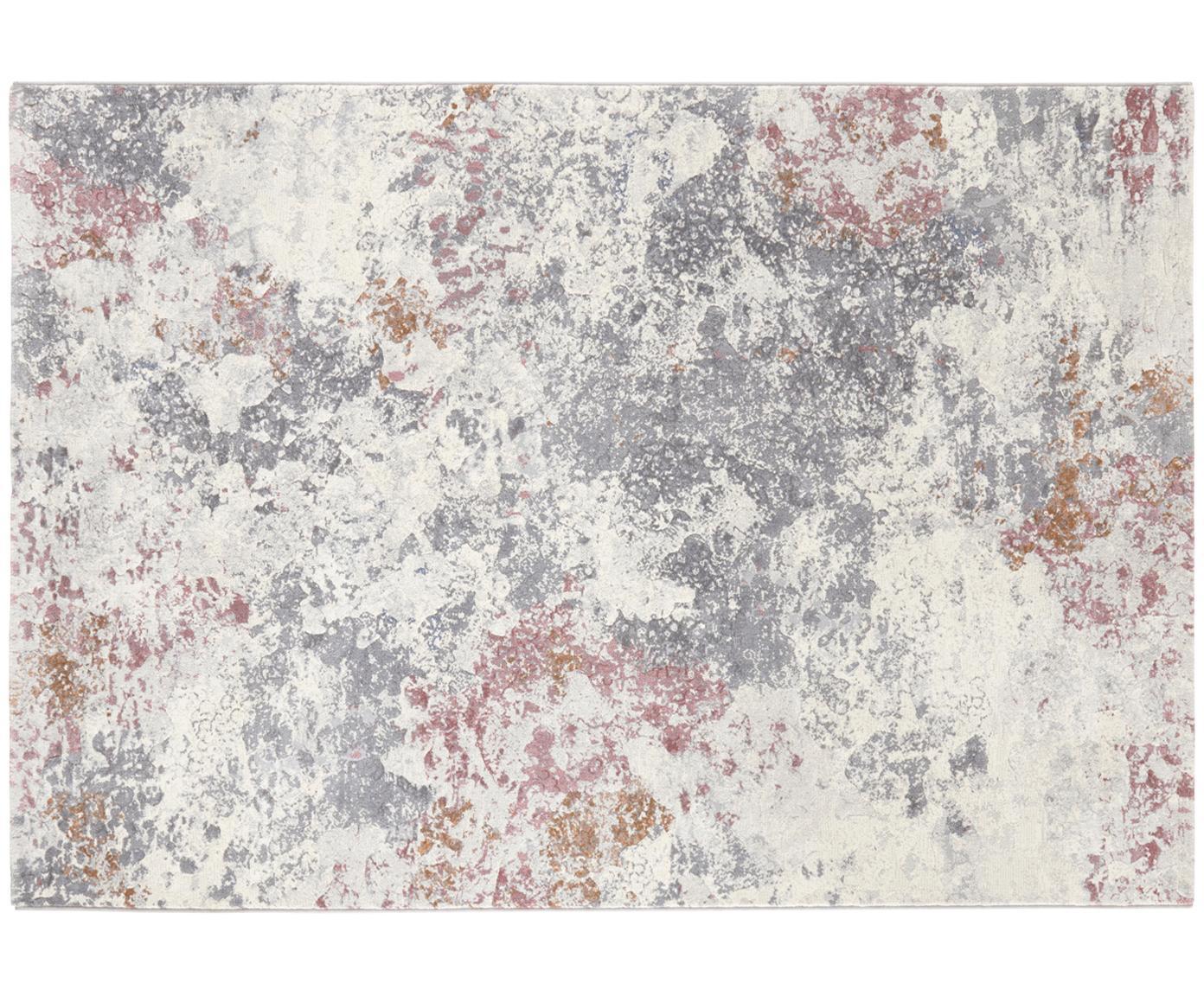 Vloerkleed Fontaine, Bovenzijde: polypropyleen, Onderzijde: jute, Crèmekleurig, grijs, frambooskleurig, 120 x 170 cm