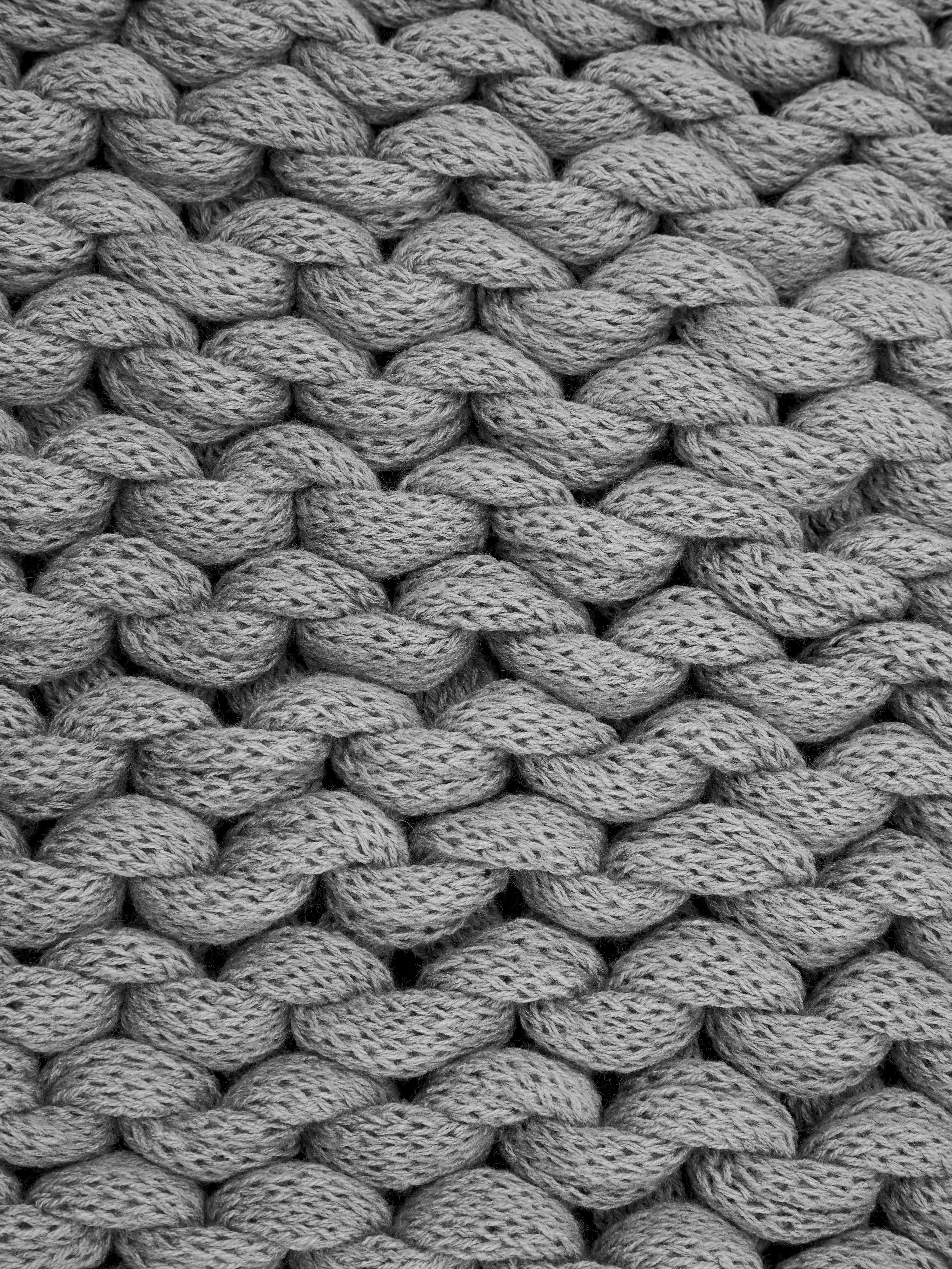 Manta de punto grueso Adyna, 100%poliacrílico, Gris claro, An 130 x L 170 cm