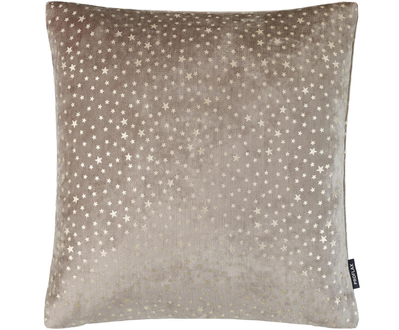 Fluwelen kussenhoes Estrella, Bovenzijde: polyester fluweel, Onderzijde: polyester, Beige, goudkleurig, 40 x 40 cm