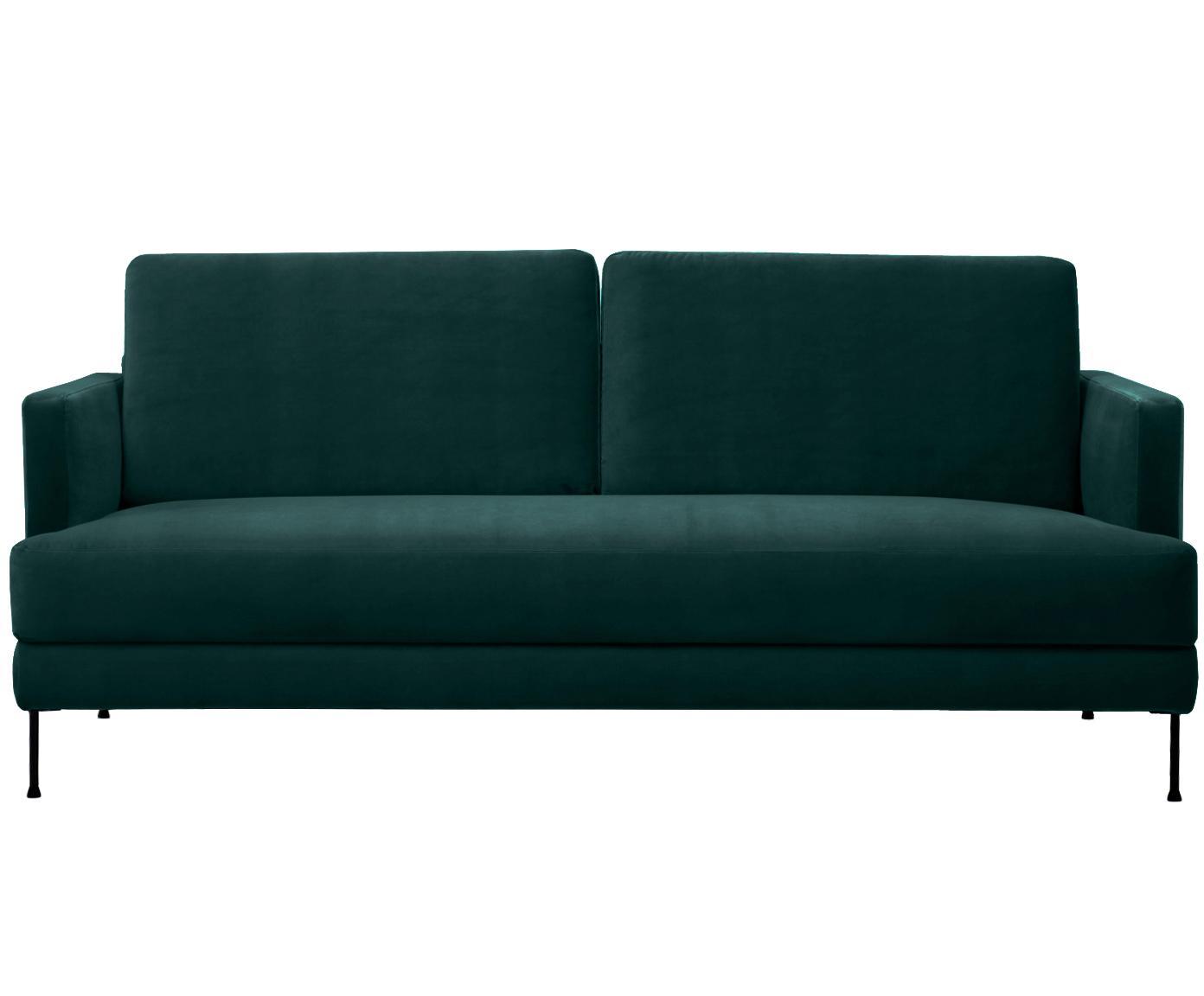 Sofa z aksamitu Fluente (3-osobowa), Tapicerka: aksamit (wysokiej jakości, Stelaż: lite drewno sosnowe, Nogi: metal lakierowany, Ciemnozielony aksamit, S 197 x G 83 cm