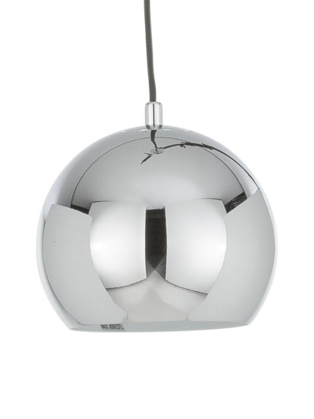 Mała lampa wisząca Ball, Metal chromowany, Metalowy, chrom, Ø 18 x W 16 cm