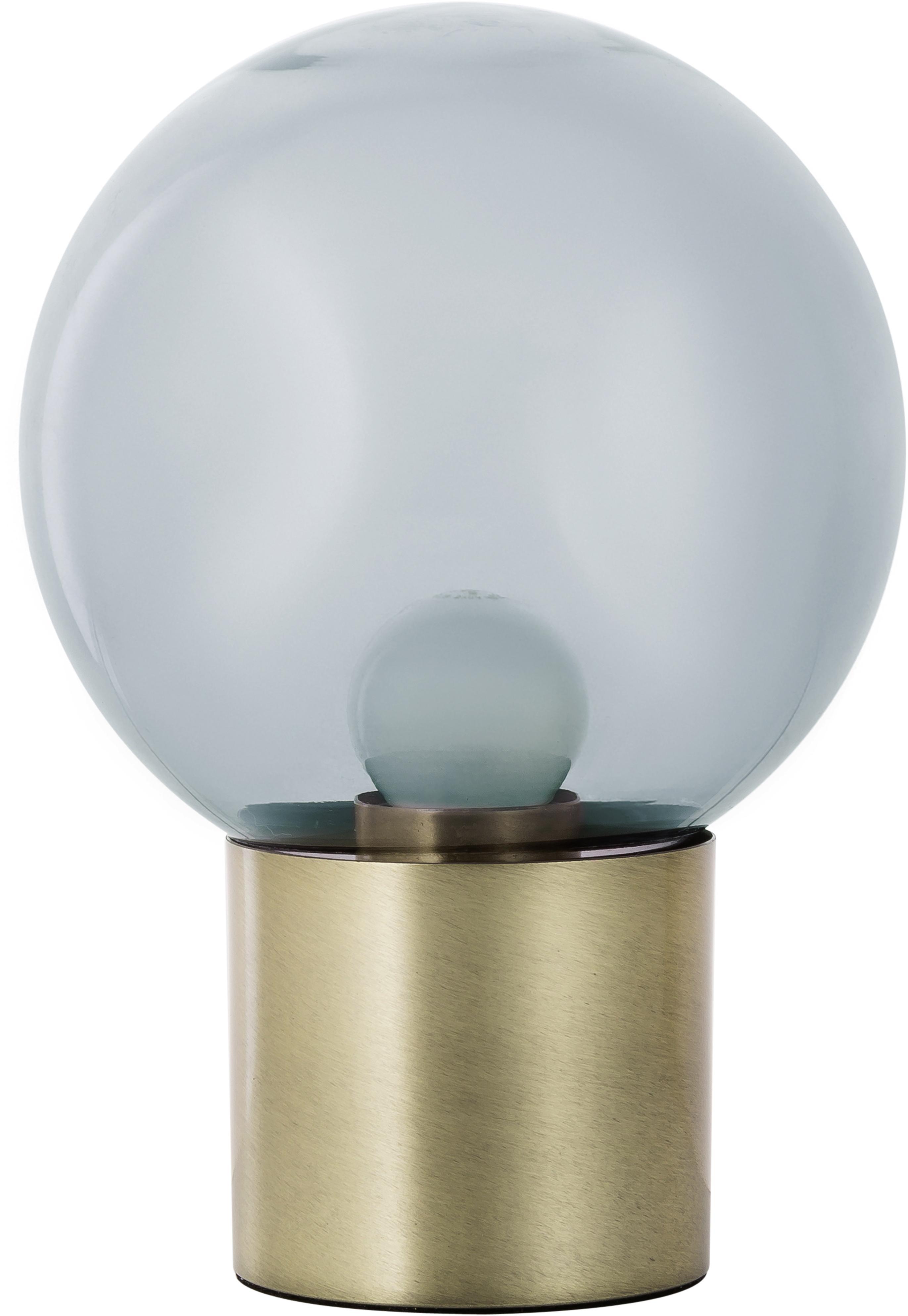 Retro-Tischlampe Lark aus Glas, Lampenschirm: Glas, Lampenfuß: Metall, gebürstet, Lampenschirm: Grau, transparentLampenfuß: Messingfarben, matt, Ø 17 x H 24 cm
