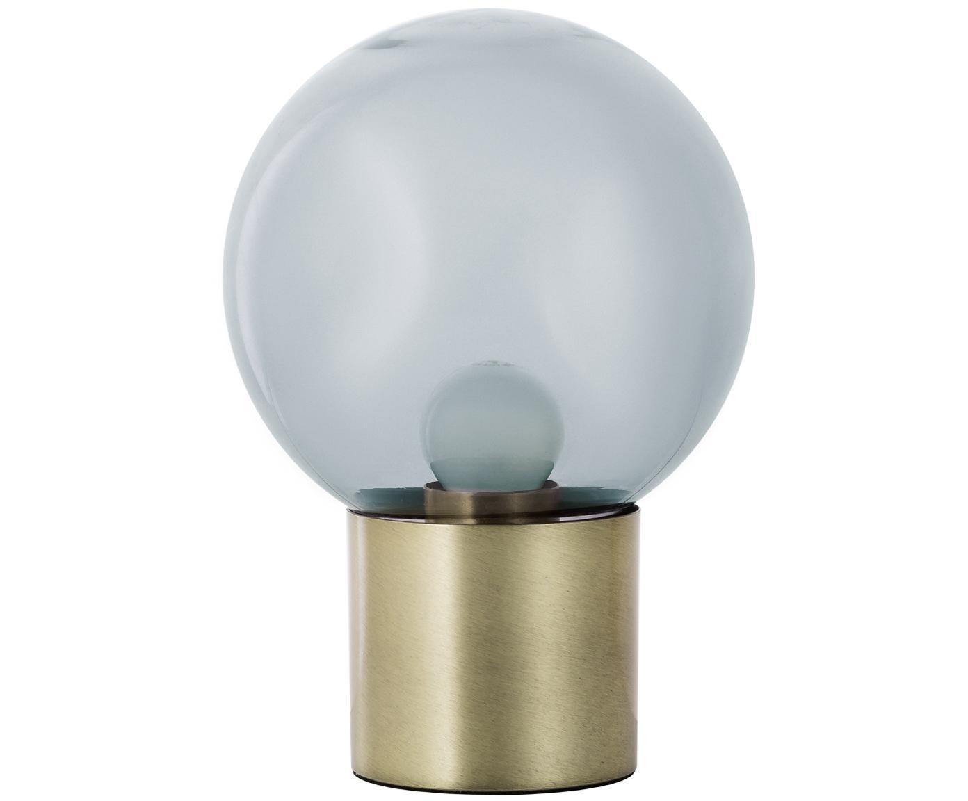 Tafellamp Lark, Lampenkap: glas, Lampvoet: geborsteld metaal, Lampenkap: grijs, transparant. Lampvoet: mat messingkleurig, Ø 17 x H 24 cm