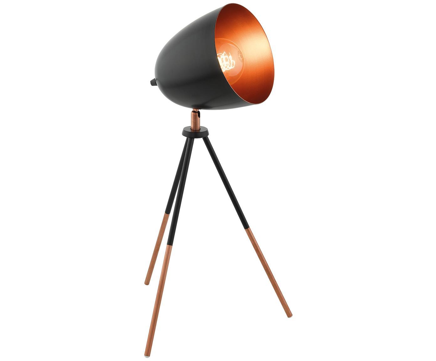 Tripod Schreibtischlampe Luna im Industrial-Style, Lampenschirm: Stahl, pulverbeschichtet,, Lampenfuß: Stahl, pulverbeschichtet,, Lampenfuß: Schwarz, Kupfer<br>Lampenschirm außen: Schwarz, 29 x 44 cm
