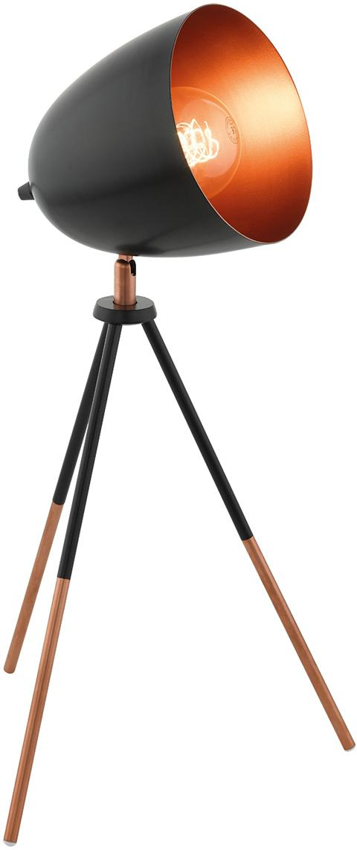 Tripod Schreibtischlampe Luna im Industrial-Style, Lampenschirm: Stahl, pulverbeschichtet,, Lampenfuss: Schwarz, Kupfer<br>Lampenschirm aussen: Schwarz, 29 x 44 cm