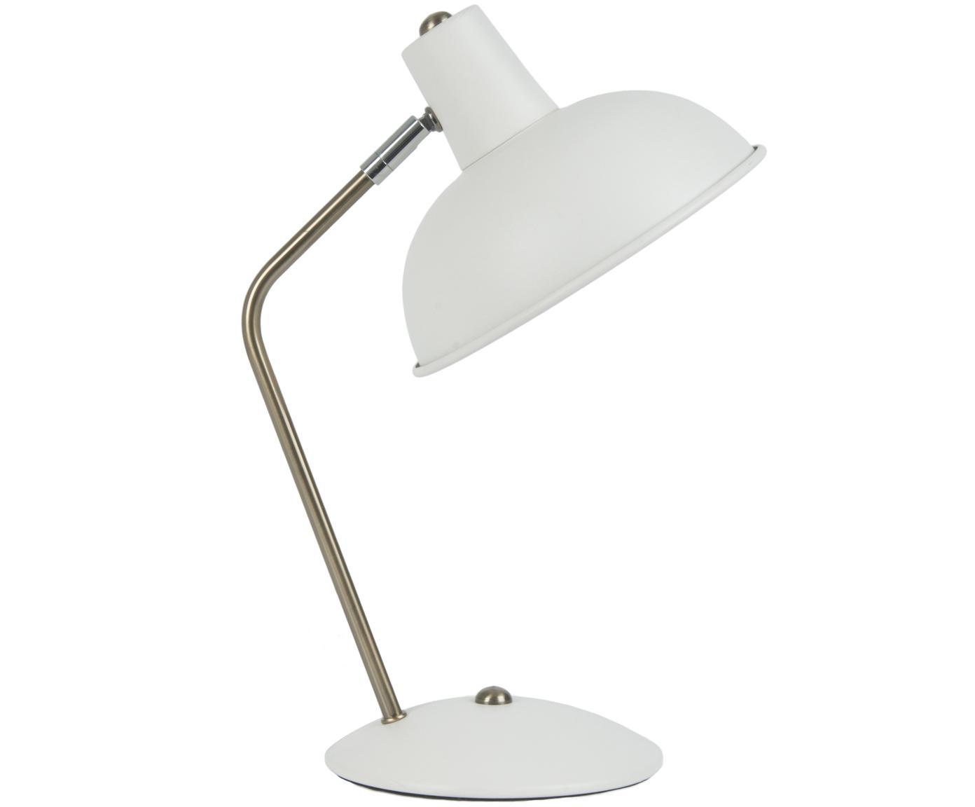 Retro tafellamp Hood, Wit, messingkleurig, 20 x 38 cm